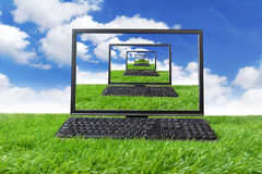 Computer on the green grass Royalty Free Stock Photos