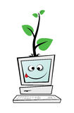 Computer with a green tree Stock Photo