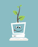 Computer with a green tree Stock Images
