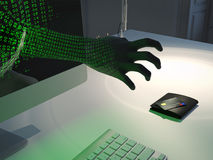 Computer hacker attack . 3d rendering Royalty Free Stock Photography
