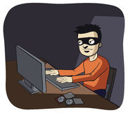 Computer hacker in the dark Stock Photography
