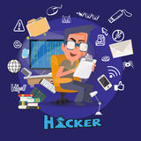 Computer Hacker in hacking action with icons. typographic design Royalty Free Stock Images