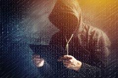 Computer hacker hacking artificial neural network stock photos
