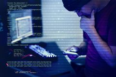 Computer hacker hacking for important document royalty free stock images