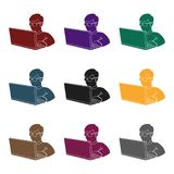Computer hacker icon in black style isolated on white background. Hackers and hacking symbol stock vector illustration. Computer hacker icon in black design Royalty Free Stock Photography