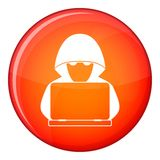 Computer hacker with laptop icon, flat style. Computer hacker with laptop icon in red circle isolated on white background vector illustration Royalty Free Stock Images