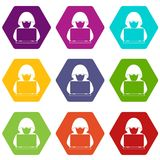 Computer hacker with laptop icon set color hexahedron. Computer hacker with laptop icon set many color hexahedron isolated on white vector illustration Stock Images