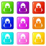 Computer hacker with laptop icons 9 set. Computer hacker with laptop icons of 9 color set isolated vector illustration Royalty Free Stock Photos