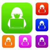 Computer hacker with laptop set collection. Computer hacker with laptop set icon in different colors isolated vector illustration. Premium collection Royalty Free Stock Photos