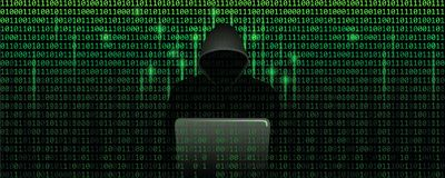 Computer hacker in matrix cybercrime concept with binary code web background. Vector illustration EPS10 vector illustration