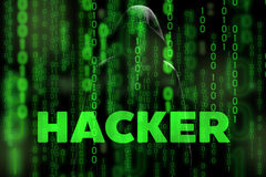 Computer hacker silhouette of hooded man with binary data screen and network security terms matrix theme Royalty Free Stock Photo