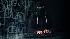 Computer hacker typing on keyboard stock footage