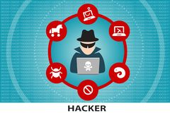 Computer hacker unrecognisable cyber criminal stock illustration