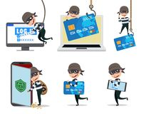 Computer hacker vector character set. Cyber security thief hacking computer and mobile stealing credit card information. Vector illustration stock illustration