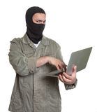 Computer hacker at work Stock Photography