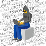 Computer hacker working with laptop on text background Stock Photo