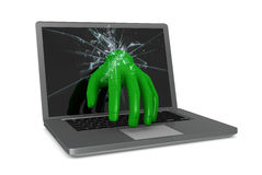 Computer hacking. One hand that goes out from a computer screen and take control of it (3d render Royalty Free Stock Image