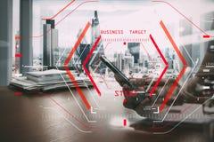 Computer Halogram target business start concept.businessman work royalty free illustration