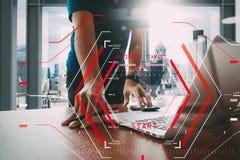 Computer Halogram target business start concept.businessman work stock illustration