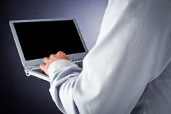Computer in hand Royalty Free Stock Image