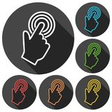 Computer hand cursor icons set with long shadow Stock Photos