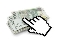 Computer hand cursor with polish money. Stock Images