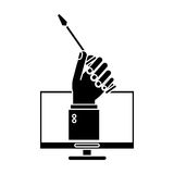 Computer hand holds screwdriver under construction sign pictogram Stock Image