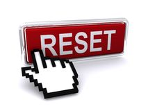 Computer hand and reset button Royalty Free Stock Photo