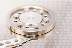 Computer Hard Disk Drive And Binary Numbers Stock Photo