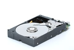 Computer Hard Disk Drive With Open Cover on White Background royalty free stock photography
