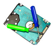 Computer hard disk drive with a screwdriver Royalty Free Stock Photo
