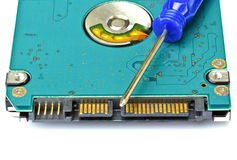 Computer hard disk drive with a screwdriver Royalty Free Stock Photography