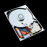 Computer hard disk isolated on black background Royalty Free Stock Images
