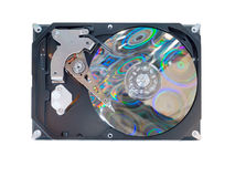 Computer hard disk isolated on white Royalty Free Stock Images