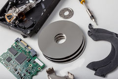 Computer hard disk parts. Some computer hard disk parts Royalty Free Stock Image