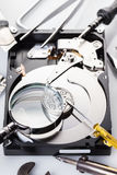 Computer hard disk and tools Stock Image