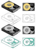 Computer hard drive. Illustration of computer hard drive in different styles - flat and isometric, color and black and white Stock Image