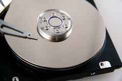 Computer Hard Drive. Opened Computer Hard Drive with Exposed Discs royalty free stock photo