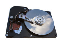 Computer hard drive. Opened computer hard disc stock photo