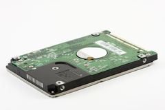 Computer Hard Drive. The bottom view of computer hard disk Royalty Free Stock Photo