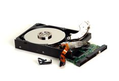 Computer Hard Drive and Broken Parts after Crash Stock Photos