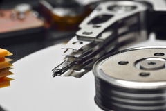 Computer hard drive. Close-up of the computer hard drive heads Stock Image