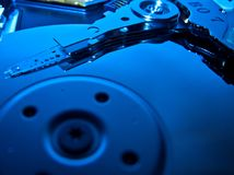 Computer Hard Drive - Cold Blue. Close up ofcomputer hard drive - Cold Technology royalty free stock photos