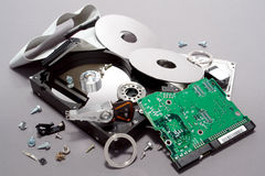 Computer Hard Drive Crashed and Broken Apart Stock Image