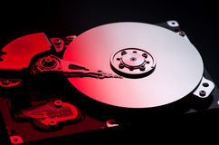 Computer hard drive on fire royalty free stock photo