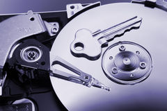 Computer hard drive and key Royalty Free Stock Images