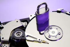 Computer hard drive and lock Stock Images