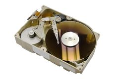 Computer hard drive, open, on white Stock Images