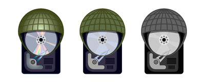 Computer Hard Drive Protects Itself Under Military Helmets. Computer HDD protects itself under military helmets Stock Image