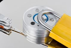 Computer harddrive and lock Royalty Free Stock Images